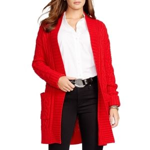 Lauren by Ralph Lauren Cable Knit Cardigan in Red